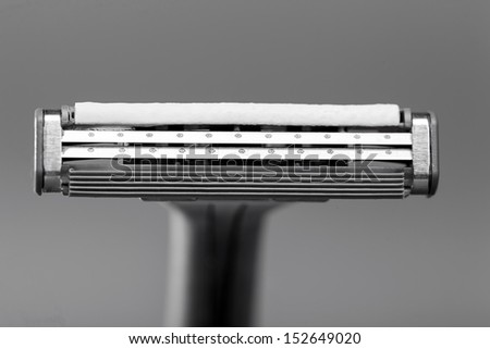 macro of a shaving head with two blades - stock photo