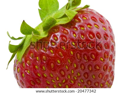 macro of a strawberry isolated on white