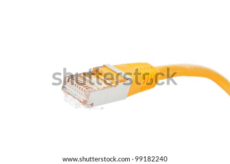 Macro of a yellow network cable in front of white background