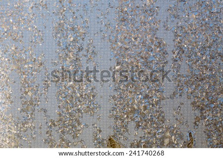 Macro of abstract frost pattern on window. - stock photo