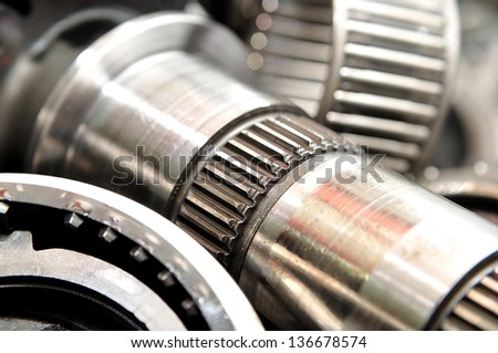 Macro of an gearbox axle. - stock photo