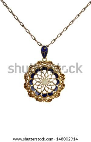 macro of antique pendant on white - stock photo
