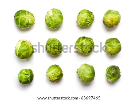 Macro of Brussels sprout buds  in rows isolated on white - stock photo