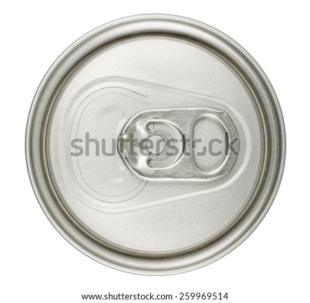 macro of can top isolated on white - stock photo