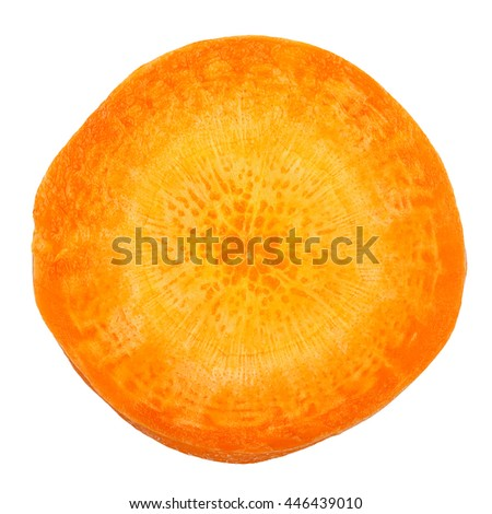 macro of carrot slice isolated on white