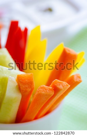 macro of carrots, cucumber and pepper sticks - stock photo