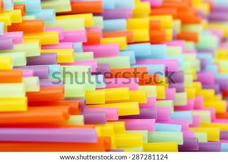 macro of colorful drinking straws - stock photo
