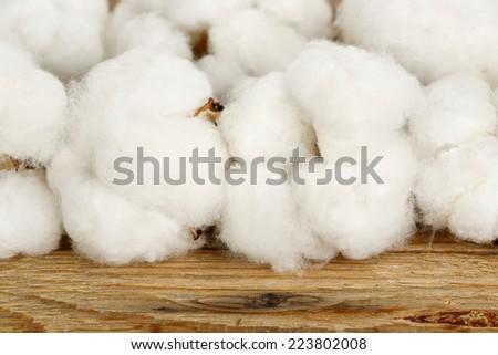 macro of cotton balls on wood - stock photo