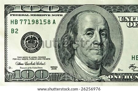macro of 100 dollars - stock photo