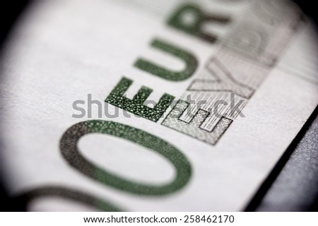 Macro of euro bank note - stock photo