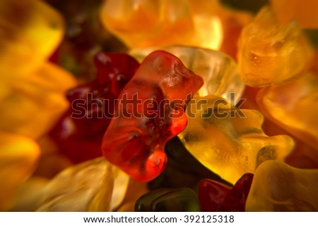 Macro of Gummy bear background - stock photo