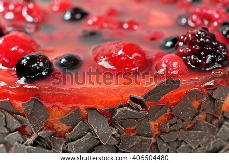 Macro of homemade fruit jelly cake with raspberriesnd wild berries with chocolate pieces