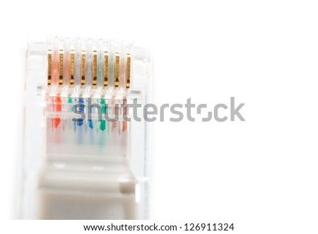 Macro of internet cable isolated on white background.