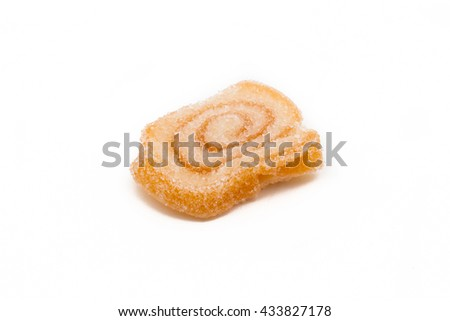 Macro of jelly fruit candies over white - stock photo