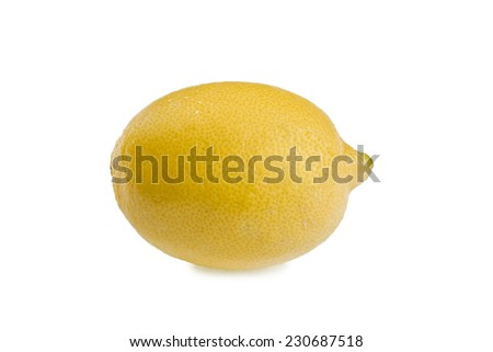 Macro of lemon isolated on white background. - stock photo