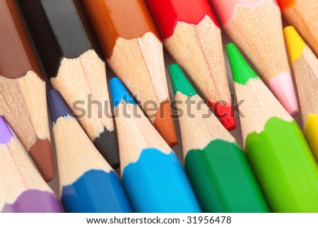 Macro of multicolored pencils - abstract art background - stock photo