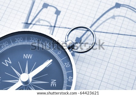 macro of old compass with blank copyspace for text message - stock photo