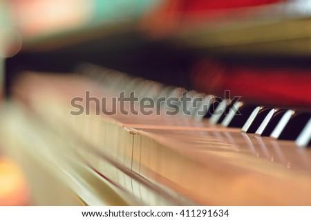 Macro of Piano Keys - stock photo