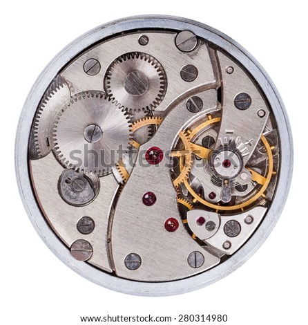 Macro of pocket clock mechanism - stock photo