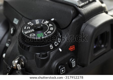 Macro of professional digital camera. - stock photo