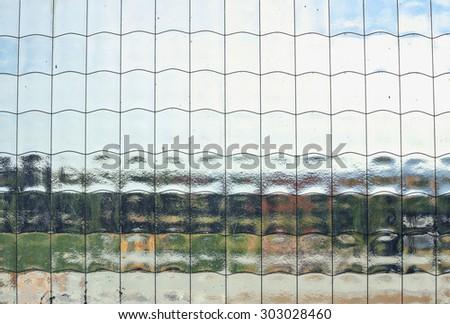 Macro of reinforced pane of glass - stock photo