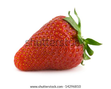 Macro of ripe strawberry isolated on white background