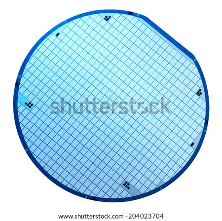 Macro of silicon wafers. Clipping path. - stock photo