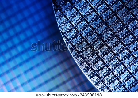 Macro of Silicon wafers. Low DOF - stock photo