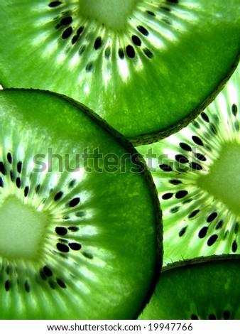 Macro of Sliced Kiwi Fruit - stock photo