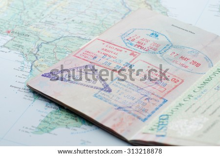 Macro of stamps in passport - stock photo