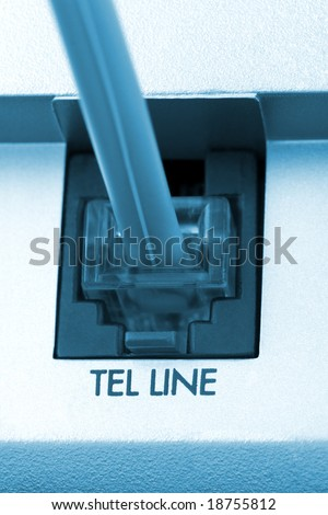 Macro of telephone cable, abstract communication background - stock photo