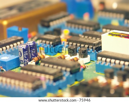 Macro of the electronic components on a PC board