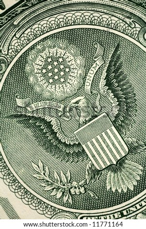 Macro of the engraving of the Great Seal of the US that is printed on American banknotes, with the inscription E Pluribus Unum (Out of many, one). - stock photo