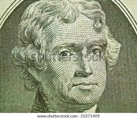 Macro of the U.S. Two Dollar Bill: Thomas Jefferson - stock photo