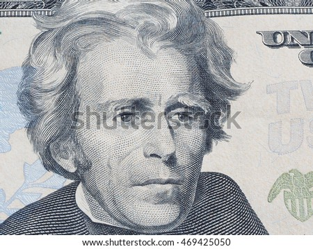 Macro of US dollar series, Andrew Jackson, a close-up portrait on US twenty dollars