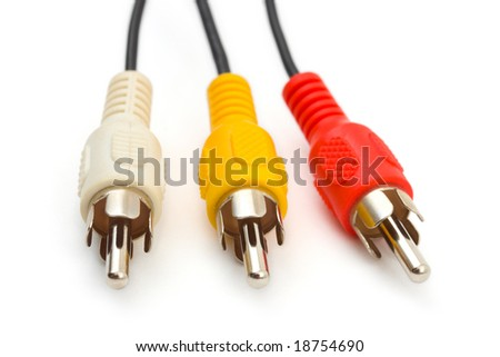 Macro of video cables isolated on white background - stock photo
