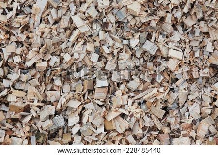 Macro of wood chips for the production of pellets - stock photo