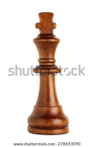 macro of wooden chess king isolated on white - stock photo