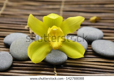 Macro of yellow orchid with stones on mat - stock photo