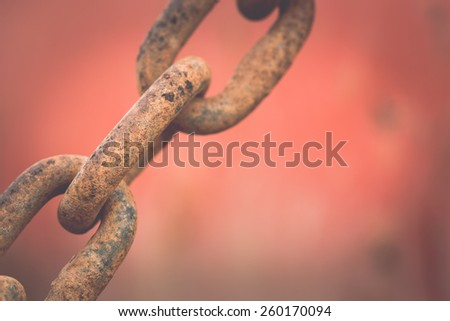Macro old and rusty chain