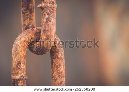 Macro Old and rusty chain - stock photo