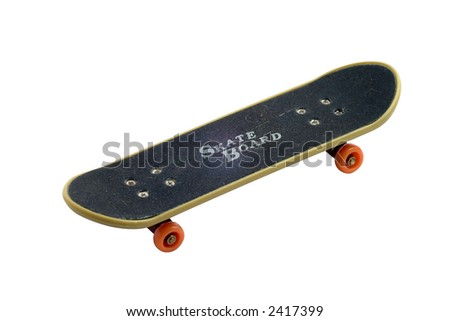 macro os a toy skate board isolated on white