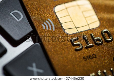 Macro photo detail of a credit card - stock photo