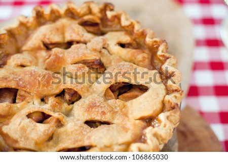 Macro Photo of a Freshly Baked Homemade Apple Pie - stock photo