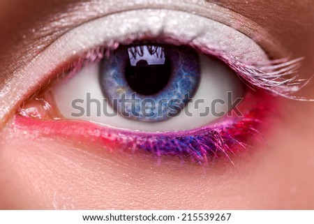 Macro photo of blue eye with make up in studio