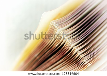 Macro photo of book pages - stock photo