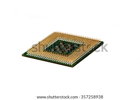 Macro photo of Computer microprocessor on white background. - stock photo