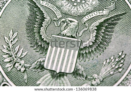 Macro photo of dollar bill - stock photo