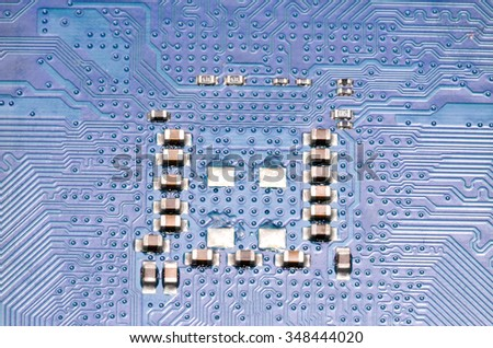 Macro Photo Of Electronic Circuit. Pcb On The Lighting. - stock photo