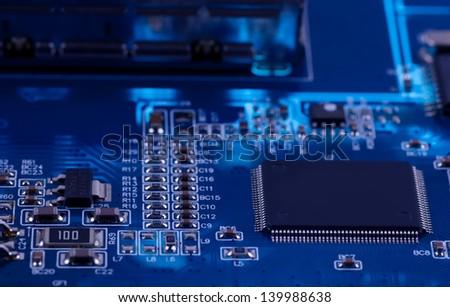 macro photo of electronic circuit. symbol of technology. Close up - stock photo